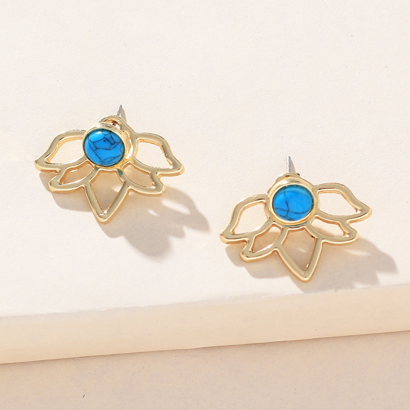 Womens Lotus Star Alloy Rhinestone Turquoise Earrings NHNZ122150