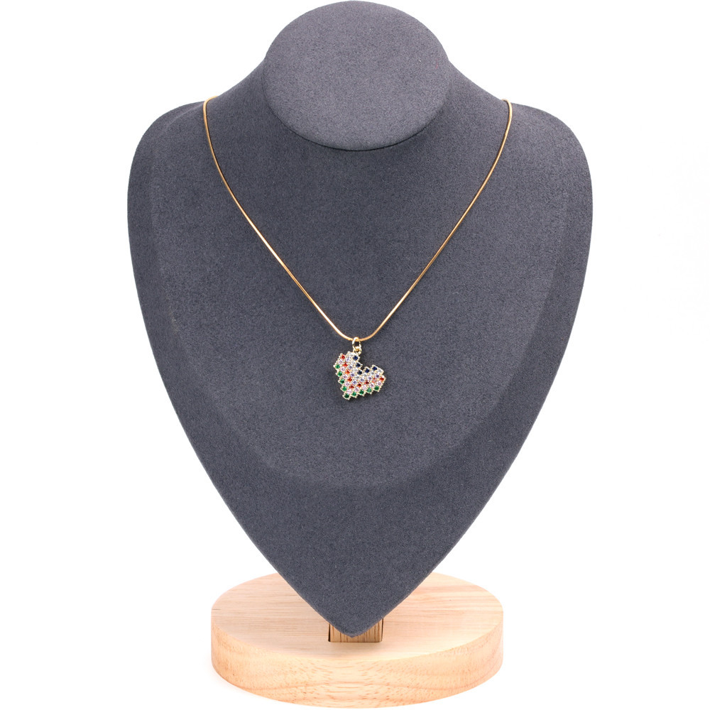 New Crescent Necklace Fashion Gold Plated Micro-inlaid Diamond Horn Moon Pendant Clavicle Chain NHPY184637