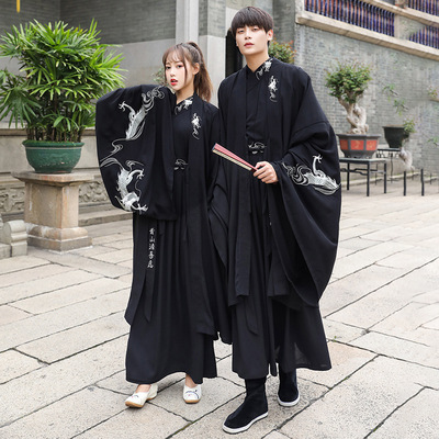 Dragon Dance embroidery large size Hanfu suit large size men and women ancient black big sleeve robes