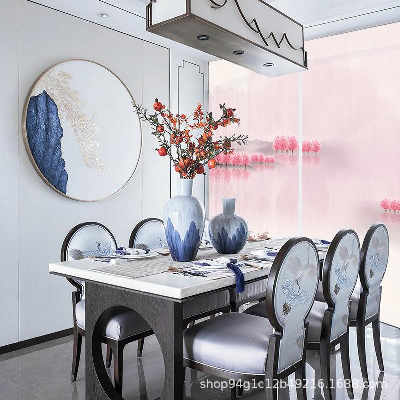 现代中式桃花卷帘半透明布艺软隔断帘客厅玄关装饰悬挂屏风帘家用