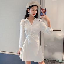 连衣裙2019新款韩版初秋网红收腰衬衣白色显瘦缎面雪纺衬衫裙
