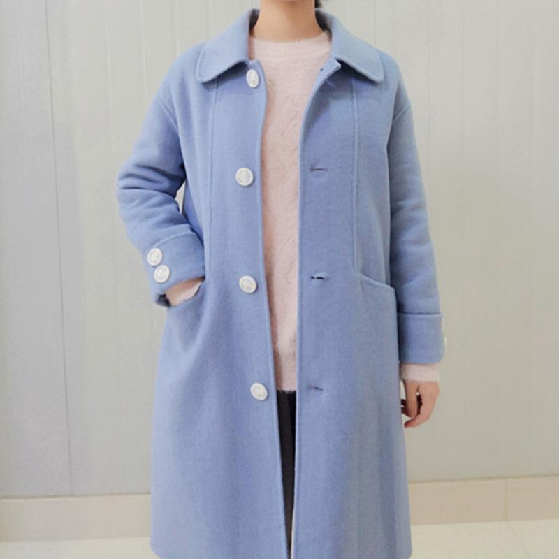 2019年时尚简约双面呢羊毛大衣女加厚翻领宽松羊绒大衣外套中长款