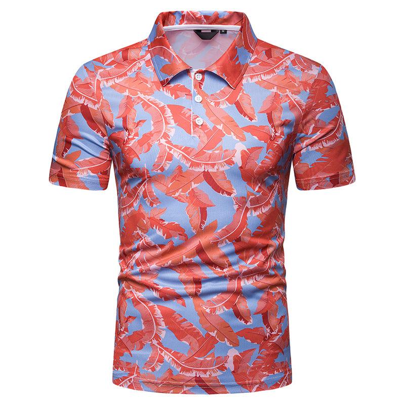 跨境热销新款夏季男士沙滩风格印花短袖POLOT恤 PL69
