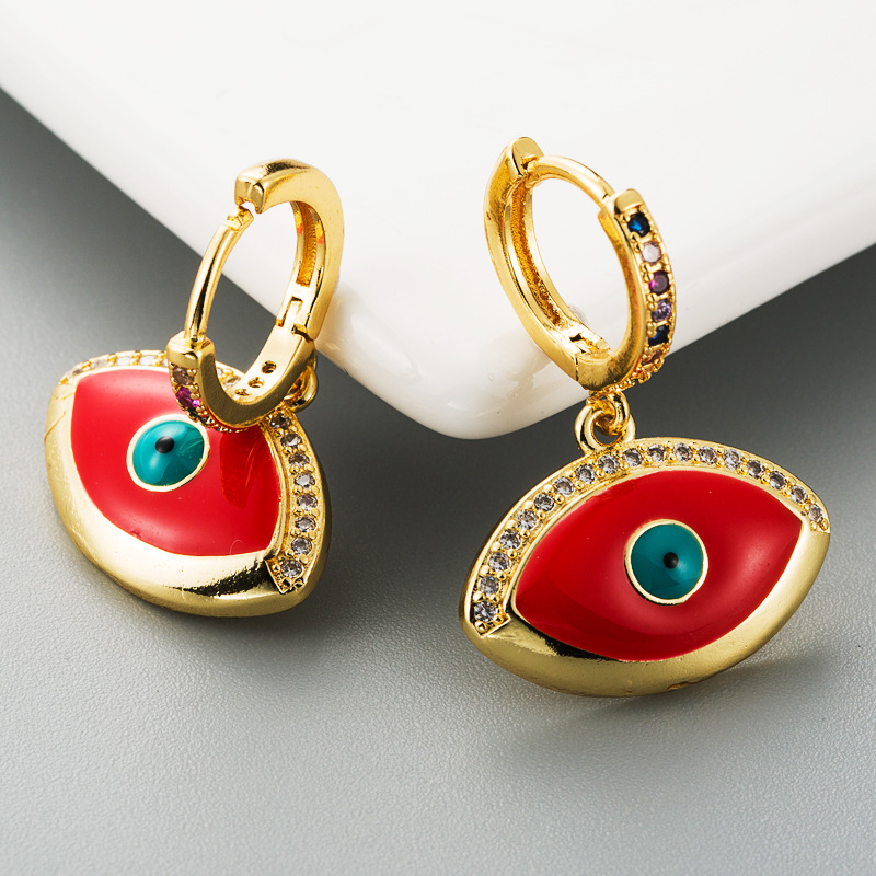 Women's earrings dripping copper inlaid with zircon demon eyes pendant earrings NHLN186074