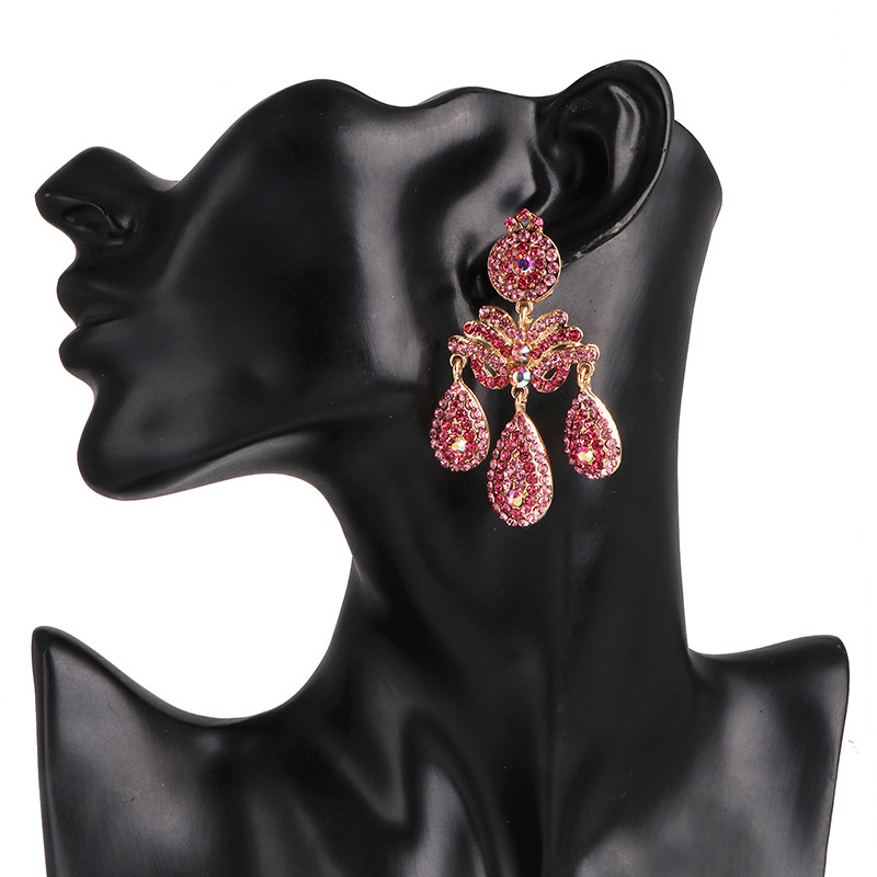 Pink water drop diamond earrings female fashion earrings fashion earrings NHJJ190967