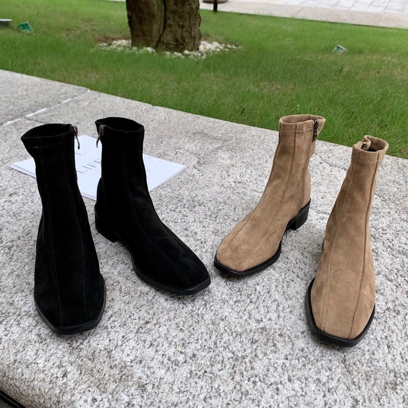 Booties women's new slim boots elastic boots retro ankle boots NHHU180037