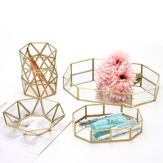 玻璃收纳盘 北欧风格 金色托盘 简约首饰化妆品摆件 复古铜条茶盘