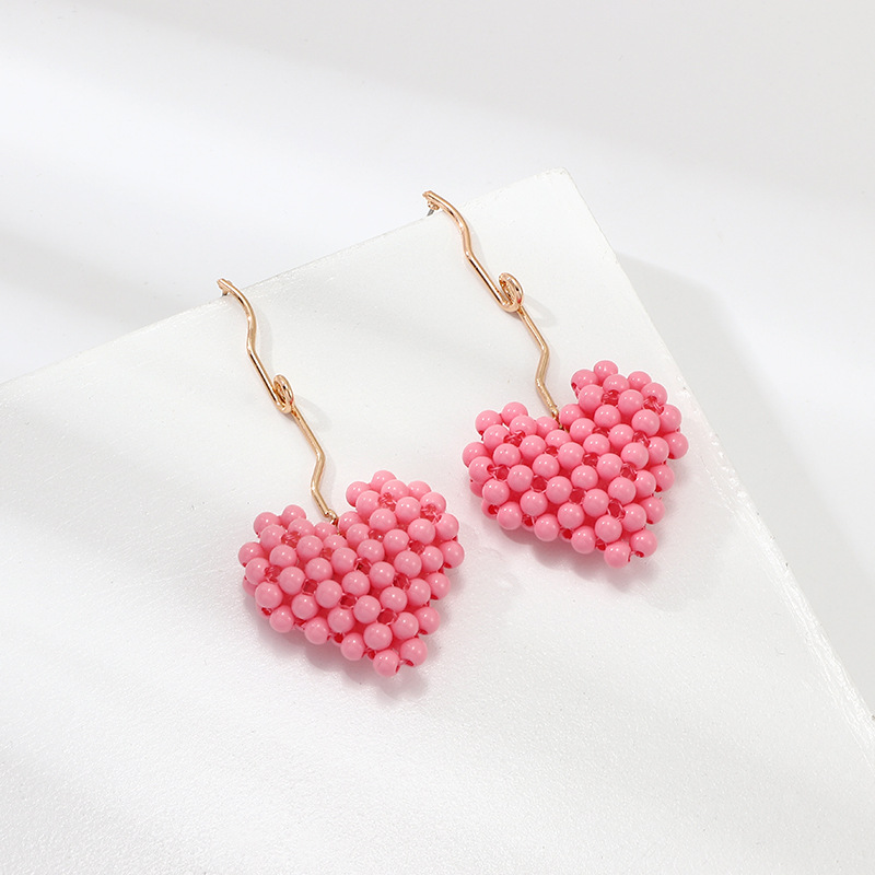 Fashion handmade beaded heart-shaped earrings NHNZ144681