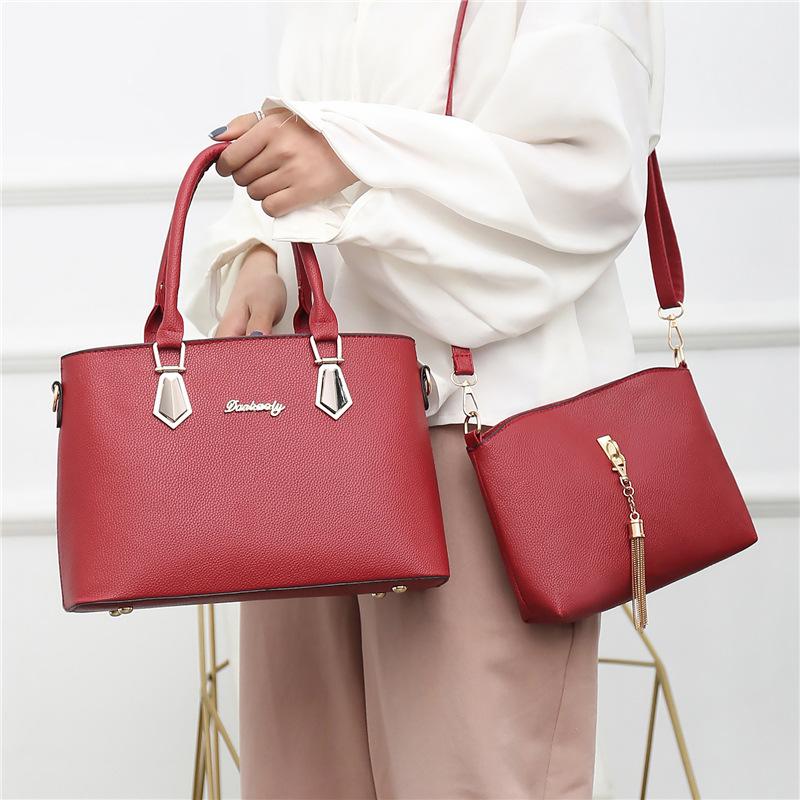 2020新款欧美气质女包手提包两件套妈妈包单肩简约百搭女士手拎包