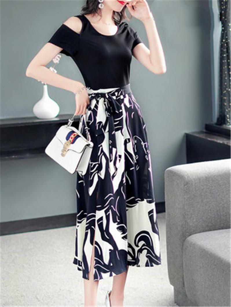 伊莲娜露肩连衣裙2019新款夏季气质收腰显瘦中长款大摆开叉裙子女