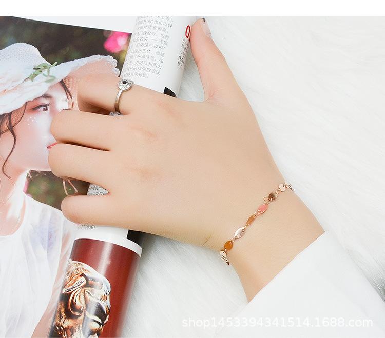 Titanium steel rose gold bracelet NHOK186488
