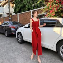 2019夏季花栗鼠小姐 胸以下全是腿 显白显瘦显高吊带连体裤送腰带