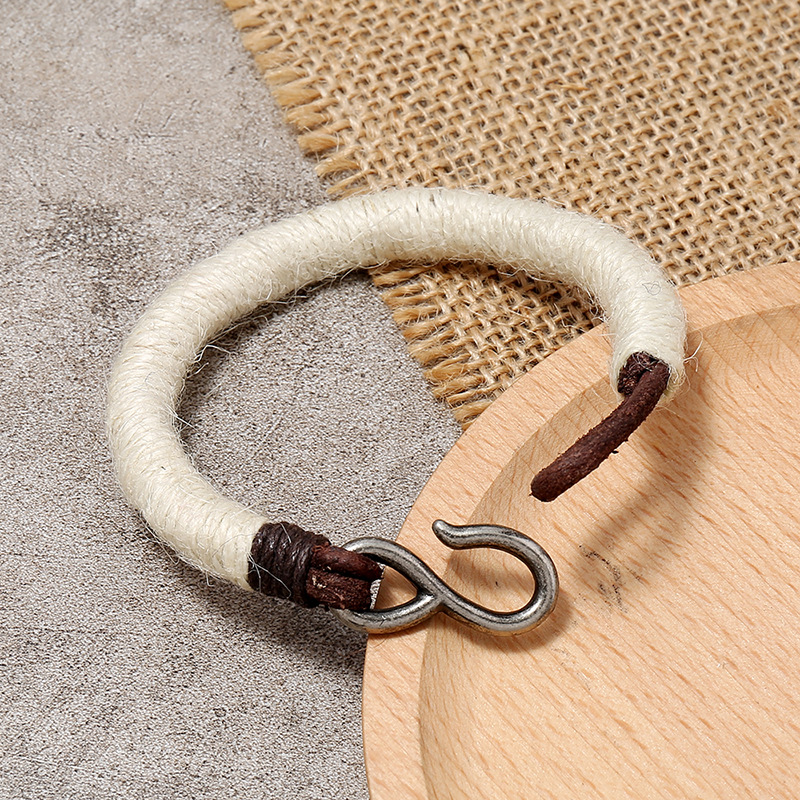 Vintage hemp woven leather bracelet NHPK170329