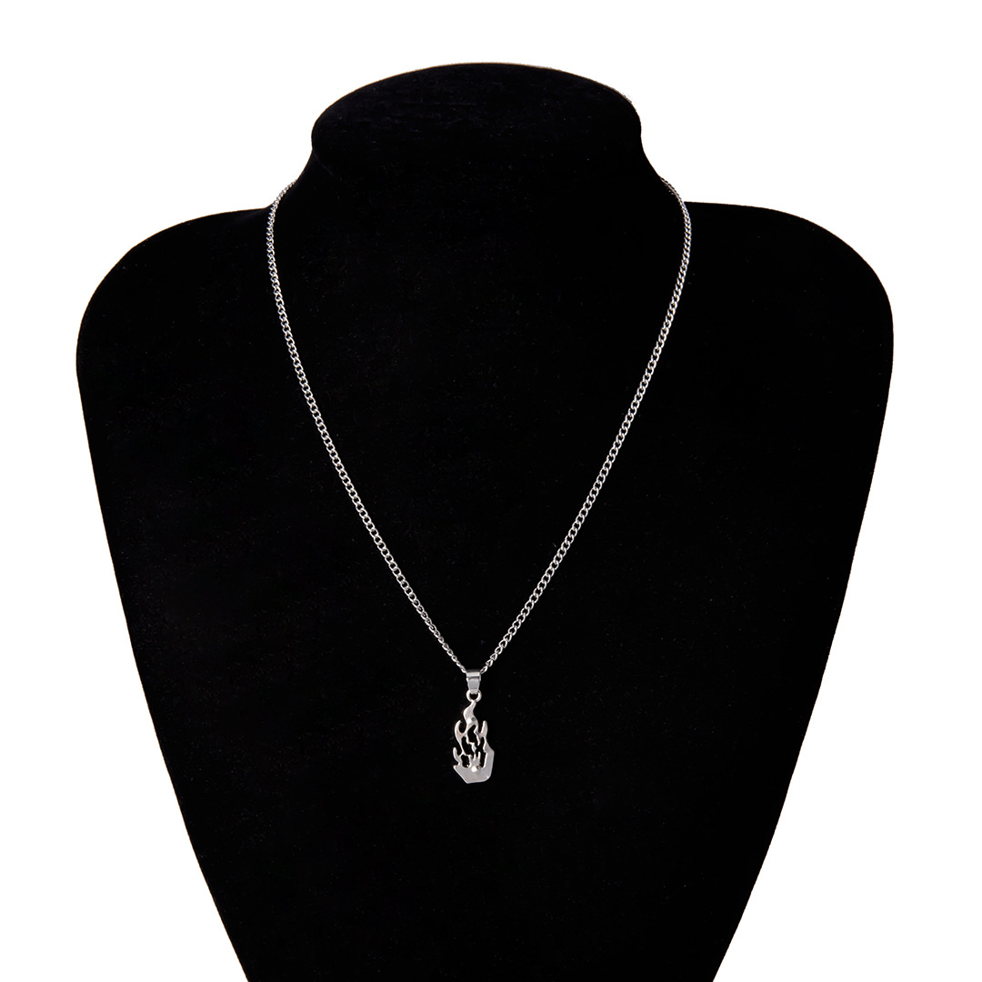 Simple openwork flame alloy necklace NHXR153047