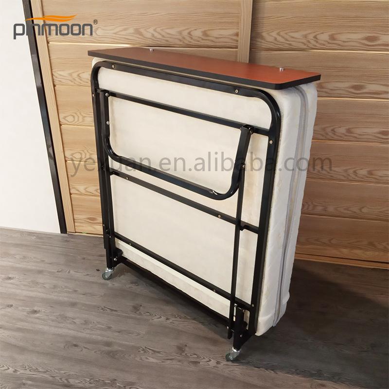 酒店折叠床 广东批发简约方便可移动金属结构客房加床单人对折床