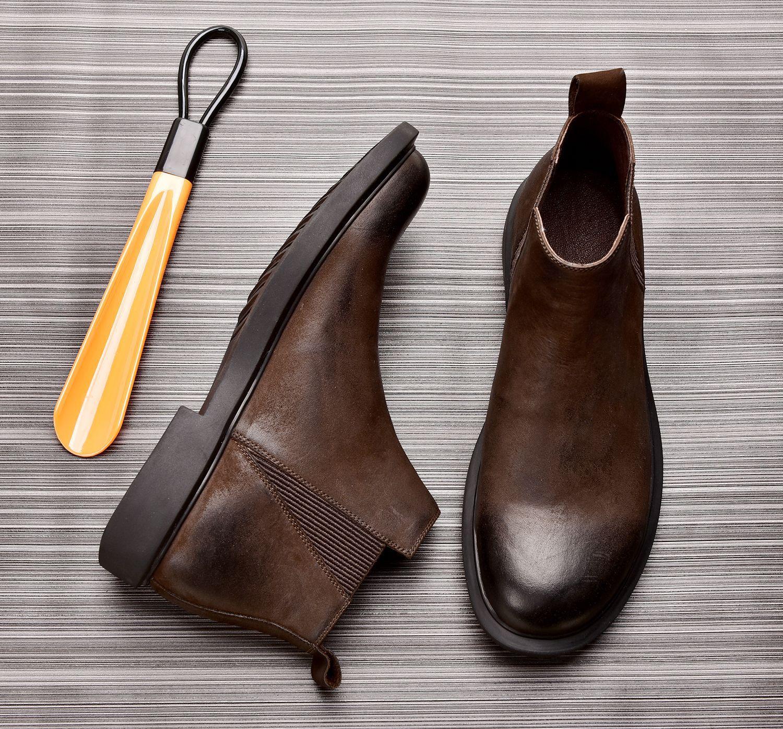 马丁靴男中邦短靴真皮切尔西靴复古一脚蹬秋冬季高帮皮鞋加绒男靴