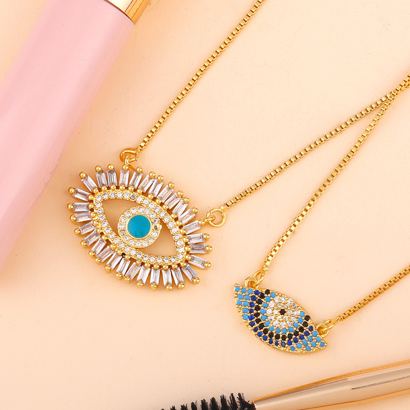 Hot sale micro inlaid color zircon choker necklace retro fashion eyes copper jewelry necklace NHAS188062