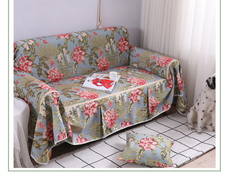 Comfortable flower print sofa cover towel slipcover cushion for multiple seats NHSP134612