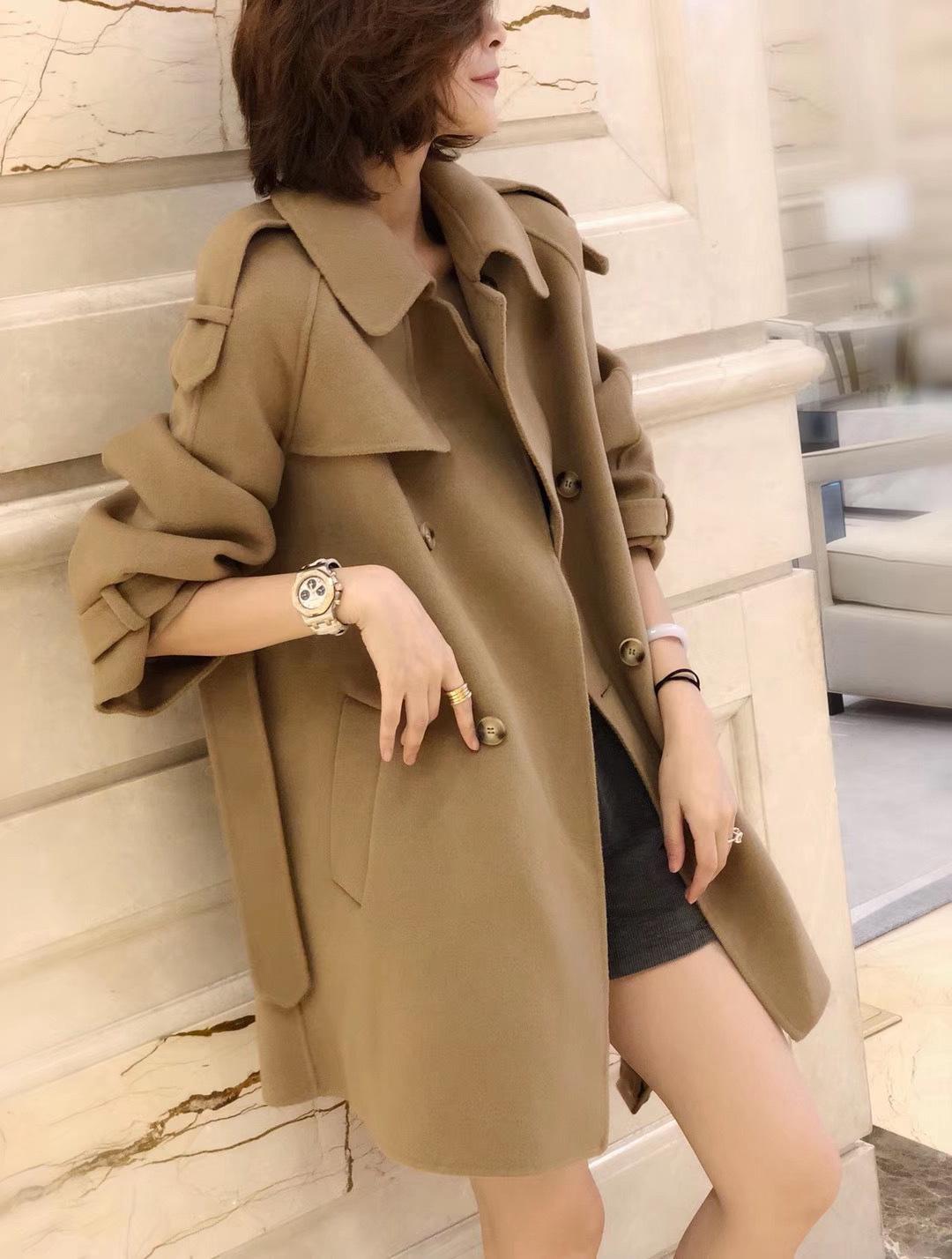 欧洲站冬装2020新款女装双面羊绒大衣女中长款斗篷羊毛呢外套潮