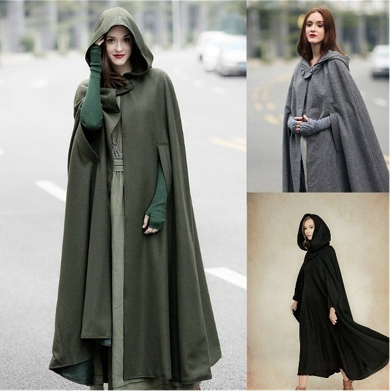 Women's Five-color Hooded Shawl And Long Coat