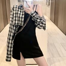 格子短款开衫女2019秋装新款防?#38057;?#34915;长袖上衣两件套小吊带连衣裙