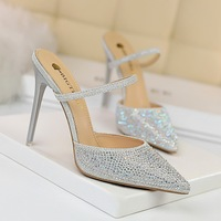 86-20 Korean edition of high-heeled women's shoes with color diamond slippers with thin heel, shallow mouth and pointed hollow word and water diamond high-heeled women's slippers