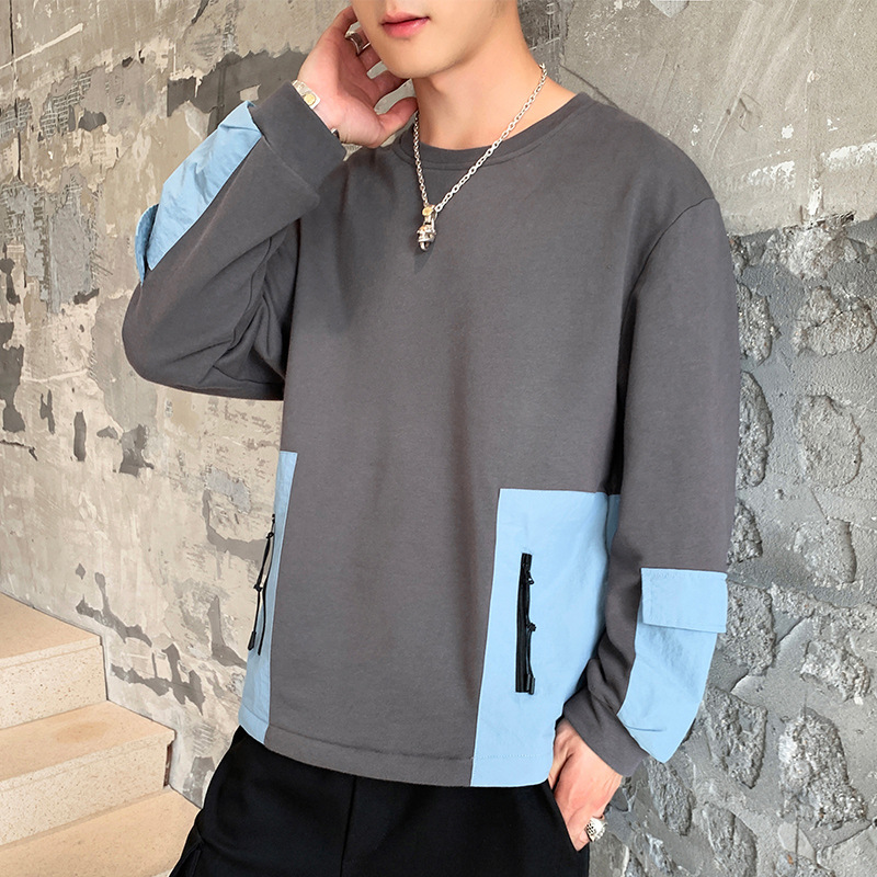 Fall 2019 new style sweater men's loose top coat men's loose large splicing casual round neck sweater
