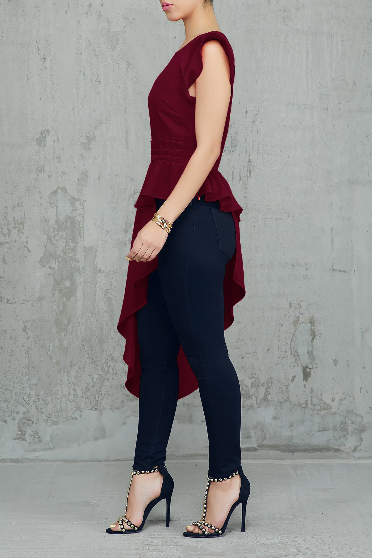 European and American sexy round neck wooden ear sleeves irregular solid color T-shirt NHRF147567
