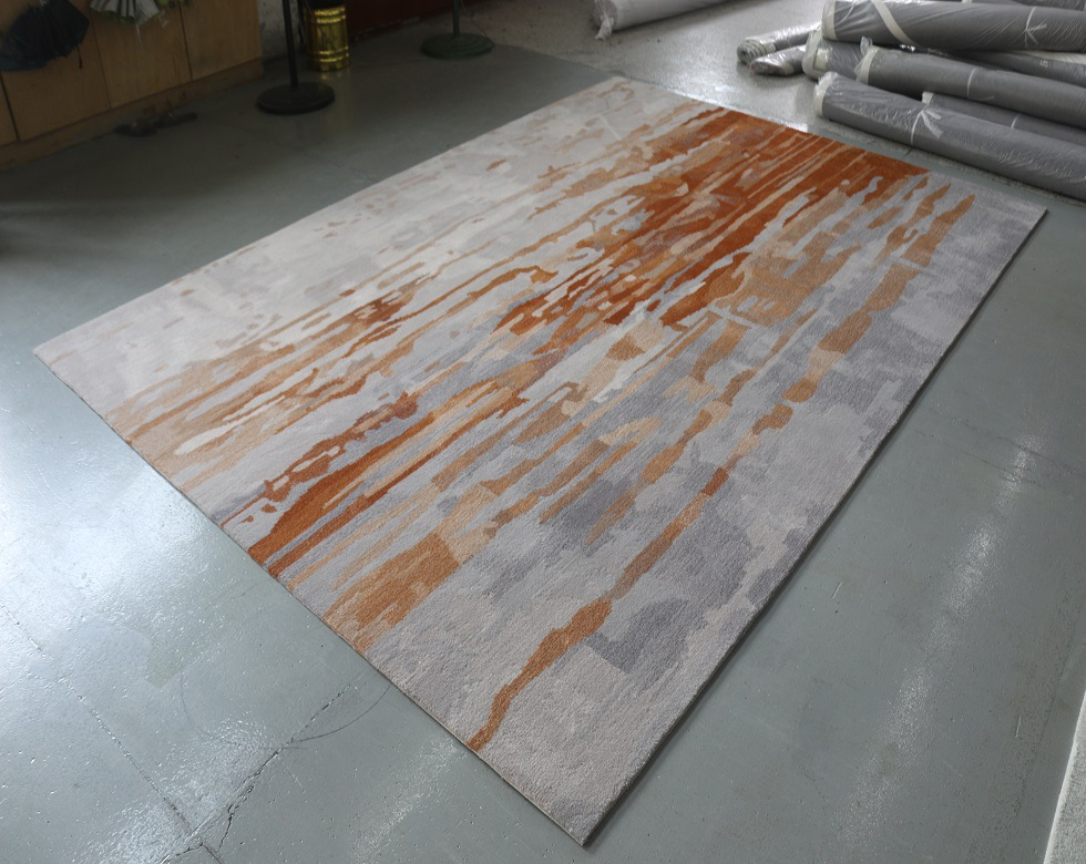 手工地毯现代简约风情客厅茶几毯美式轻奢橙色卧室加厚床边 定做