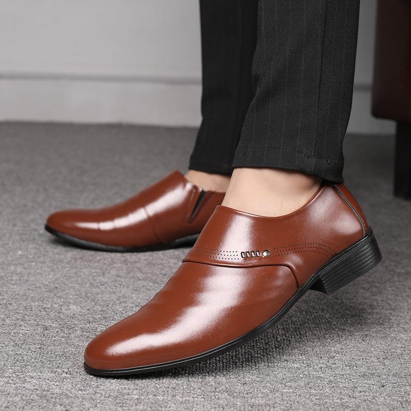 shoesmen新品凉鞋商务皮鞋跨境拼多多套脚休闲尖头单鞋男士皮鞋男