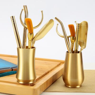 纯铜禅茶道六君子套装组合创意茶夹泡茶工具办公家用功夫茶具配件