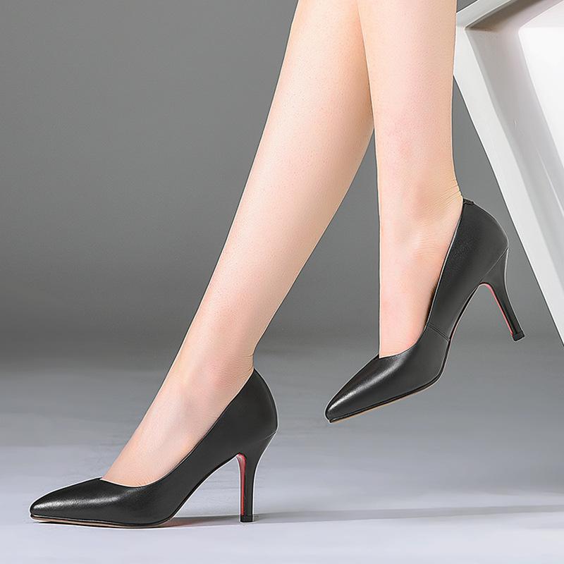 女鞋2020年新款职场尖头浅口细跟真皮单鞋女3种跟工作简约大码鞋