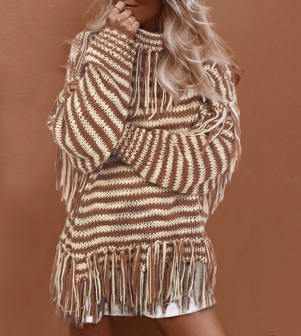autumn and winter new loose knit sweater high neck tassel women's sweater  NSDF1299