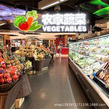 超市吊牌发光字定做区域分类标识牌商场吊装双面灯箱广告牌制作