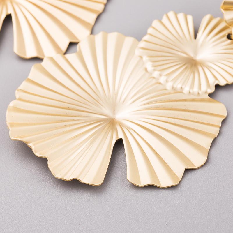 Aretes para mujer de moda vintage pendientes femeninos creativos pendientes de oro en forma de hoja de loto joyas NHLN179640
