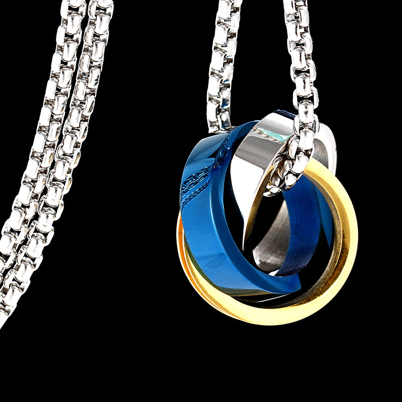 Titanium&Stainless Steel Simple Geometric necklace(blue)Fine Jewelry NHIM1675-blue