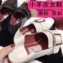 2019爆款女士时尚单鞋 真皮女鞋 百搭方扣鞋 小羊皮鞋 广东鞋包邮