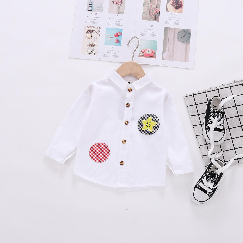 微商一件代發兒童襯衫春季新款韓版創意卡通貼片長袖開衫網店代理
