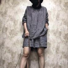 麻橙子2019新款棉麻格子衬衣文艺休闲两面穿百搭韩版黑领衬衫女