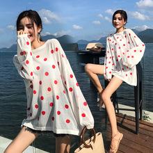 夏季新款冰丝针织衫女宽松长袖波点防晒衫罩衫薄款微透上衣潮