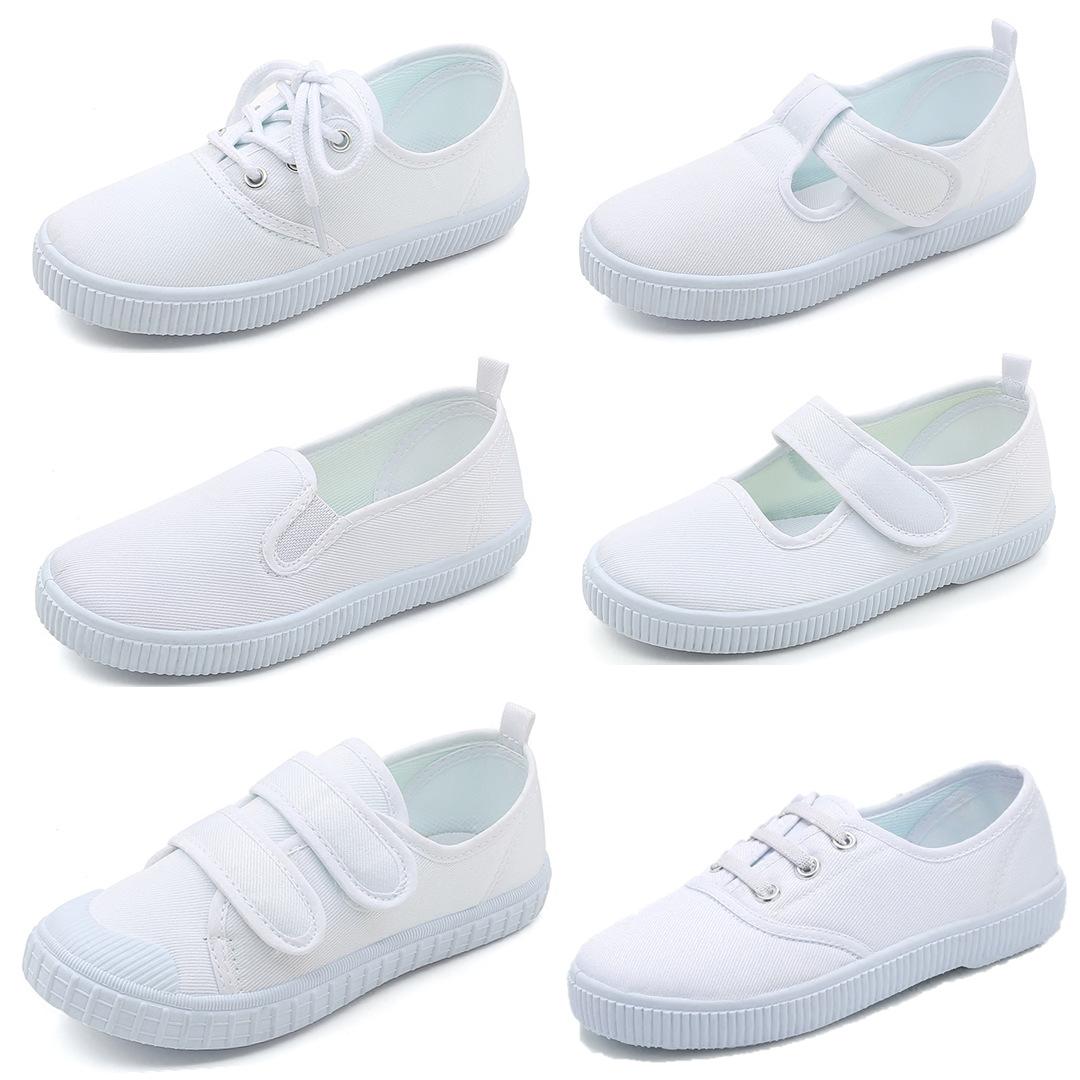 أحذية الأطفال روضة أطفال أحذية بيضاء أحذية الرقص البيضاء أحذية الأطفال قماش الفيلكرو الأحذية المطاطية طالب أبيض بالجملة