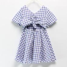 女童格子連衣裙夏季童裝2020新款寶寶短袖蝴蝶結兒童裙子一件代發