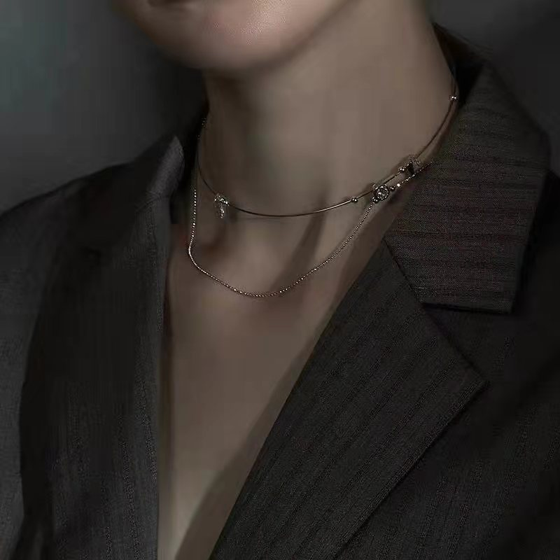 Highend clavicle chain double necklace collar earrings women NHYQ191068