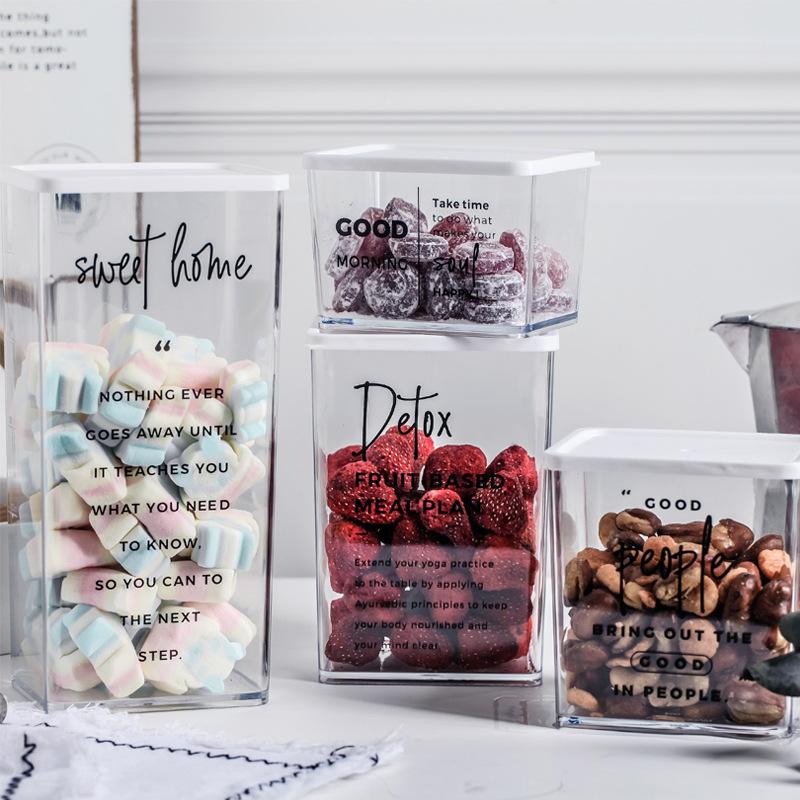 北欧零食坚果带盖收纳盒冰箱塑料保鲜密封盒高矮款ps化妆品储物罐
