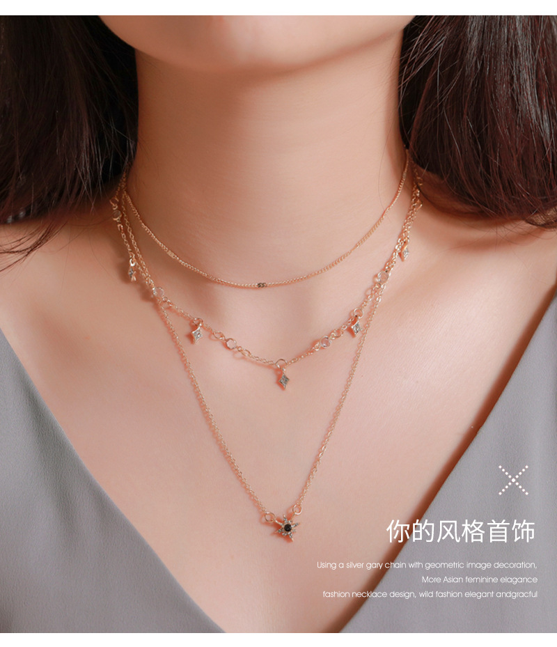 New necklace three-layer six-pointed star pendant necklace clavicle chain geometric diamond star multi-layer alloy necklace NHMO207979