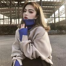 2019慵懒风宽松大码高领假两件长袖加绒加厚卫衣外套女