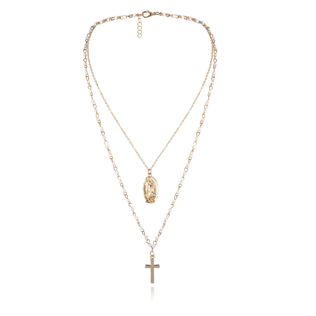 Golden embossed beads cross portrait necklace NHXR153058