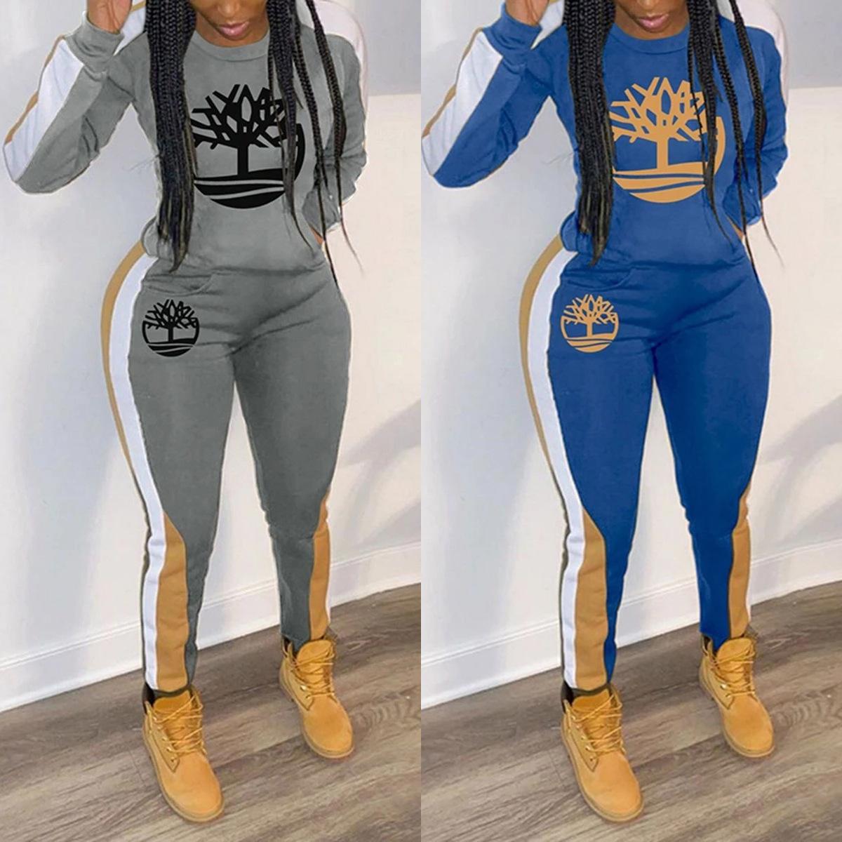 2020 أزياء الربيع الأوروبية والأمريكية الجديدة ملابس نسائية متعددة الألوان الطباعة الرياضية الترفيهية قطعتين مجموعة الأمازون انفجار!