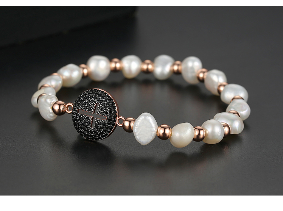 Fashion Korean Round Cross Beads Bracelet NHTM139018