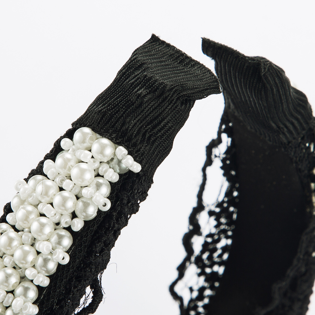 Fabric lace lace pearl headband female high-end wide-end knotted sexy headband NHJE185824